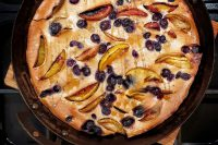 Apple and blueberry toad in the hole
